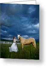 Bride And Horse With Storm Greeting Card