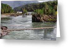 Bridge Across Mountain River Greeting Card