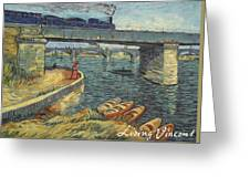 Bridge Across The Seine At Asnieres Greeting Card