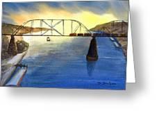 Bridge And Barge Greeting Card