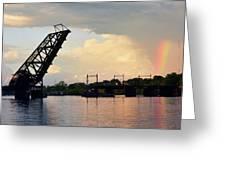 Bridge And Rainbow Over Seekonk River Greeting Card