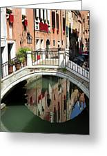 Bridge And Reflection Venice, Italy Greeting Card