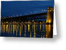 Bridge At Night In Vancouver Greeting Card