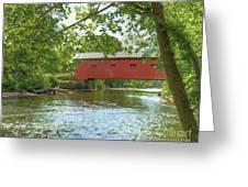 Bridge At The Green Greeting Card