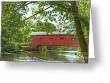 Bridge At The Green - Widescreen Greeting Card