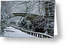 Bridge In Snow Greeting Card