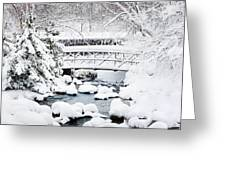 Bridge In Winter Snow Greeting Card