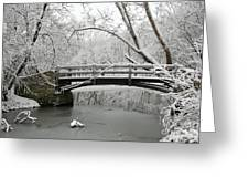 Bridge In Winter Greeting Card