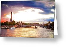 Bridge Of Alexandre IIi And Eiffel At Violet Sunset Greeting Card