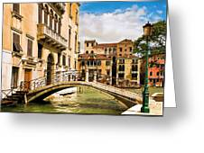 Bridge On The Canal Greeting Card