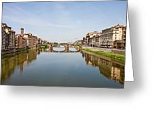 Bridge Over Arno River In Florence Italy Greeting Card