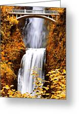 Bridge Over Cascading Waters Greeting Card