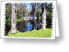 Bridge Over Pond Greeting Card