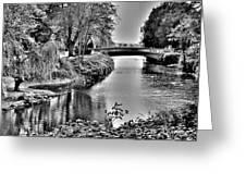 Bridge Over River Greeting Card by Roberto Alamino