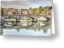Bridge Over The River Tevere, Rome, Italy Greeting Card