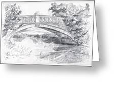 Bridge Over The River White Cart Greeting Card
