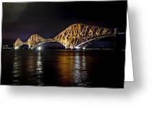Bridge Over Water Lights. Greeting Card