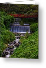 Bridge Over Waterfall Greeting Card