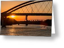 Bridge Sunrise And Boater Greeting Card