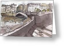 Bridging The Seine Greeting Card