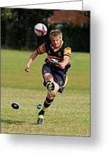 Bridlington Rufc Under 17's V Roundhegians Rufc Under 17's Greeting Card by David  Hollingworth