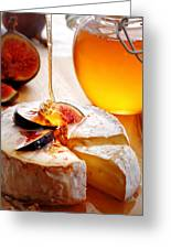 Brie Cheese With Figs And Honey Greeting Card