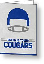 Brigham Young Cougars Vintage Football Art Greeting Card