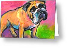 Bright Bulldog Portrait Painting  Greeting Card