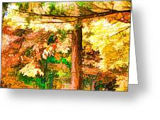 Bright Colored Leaves On The Branches In The Autumn Forest Greeting Card