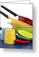 Bright Colorful Modern Kitchen Pot And Pans  Greeting Card