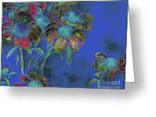Bright Daisies In Blue Greeting Card