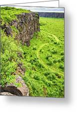 Bright Green Asbyrgi Canyon In Iceland Greeting Card