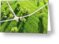 Bright Green Spring Meadow Aerial Photo Greeting Card