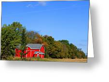 Bright Red Barn Greeting Card