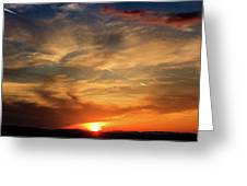 Bright Sundown In Mountains Greeting Card