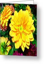 Bright Yellow Dahlia Flower Greeting Card