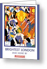 Brightest London Vintage Poster Restored Greeting Card
