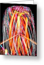 Brightly Colored Abstract Light Painting At Night From The Fireb Greeting Card