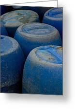 Brightly Colored Blue Barrels Greeting Card