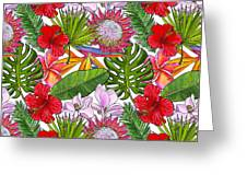 Brightly Colored Tropical Flowers And Ferns  Greeting Card
