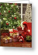 Brightly Lit Christmas Tree With Lots Of Gifts Greeting Card