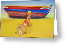 Brightly Painted Wooden Boats With Terrier And Friend Greeting Card