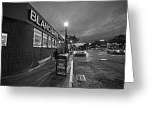 Brighton Ave Packard's Corner Allston Ma Sidewalk Black And White Greeting Card