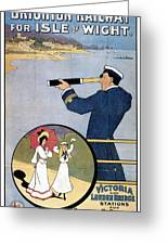 Brighton Railway, England - Isle Of Wight -  Retro Travel Advertising Poster - Vintage Poster  Greeting Card