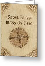 Brigid's Cross Blessing Woodburned Plaque Greeting Card