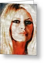 Brigitte Bardot By Mary Bassett Greeting Card