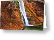 Brilliant Colored Walls Of Utah's Lower Calf Creek Falls. Greeting Card