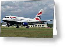 British Airways A318-112 G-eunb Greeting Card