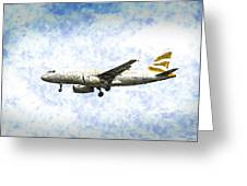 British Airways A319 Feather Design Art Greeting Card