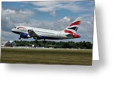British Airways Airbus A318-112 G-eunb Greeting Card
